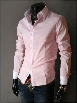 Mens Pink polyester Cotton blend Casual Button Front Shirt - AmtifyDirect