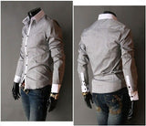 Mens Casual Slim Fitting Button Up Shirt - AmtifyDirect