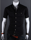 Mens Short Sleeve Button Shirt with Vertical Strip