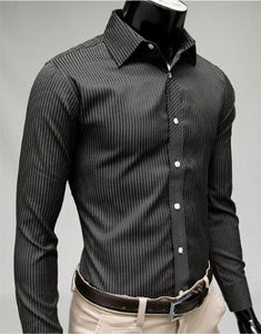 Mens Black Long Sleeve Tonal Stripe Shirt - AmtifyDirect