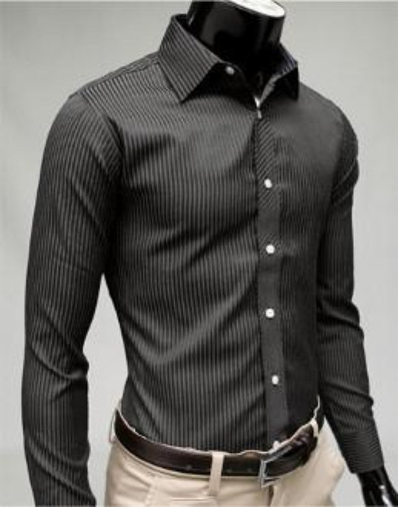 Mens Black Cotton Blend/Polyester  Business Casual Shirt - AmtifyDirect