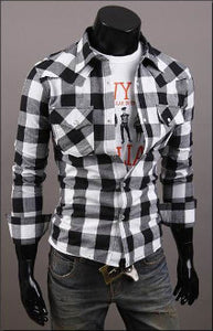 Mens Long Sleeve Button Down Plaid Shirt - AmtifyDirect