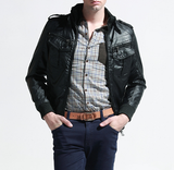 Mens Stand Collar PU Leather Jacket with Inner Fur