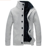 Mens Ribbed Cardigan with Inner Fur - AmtifyDirect