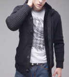 Mens Ribbed Gray Cardigan with Inner Fur