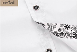 Mens Button Down Shirt with Floral Print Details