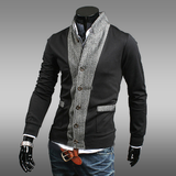 Mens Stand Collar Two Tone Cotton Cardigan