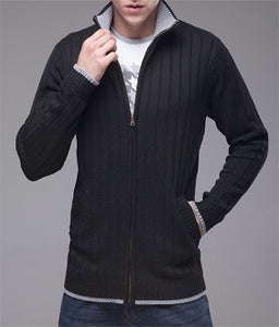 Mens Ribbed Zip-Up Cardigan - AmtifyDirect