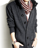 Mens High Collar Cardigan