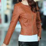 Womens Faux Leather Jacket with Zipper