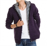 Mens Purple Cotton Blend Hooded Zipper Jacket with Inner Fur - AmtifyDirect