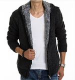 Mens Black Cotton Blend Hooded Zipper Jacket with Inner Fur - AmtifyDirect