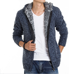 Mens Blue Cotton Blend Hooded Zipper Jacket with Inner Fur - AmtifyDirect