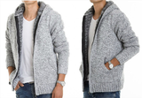 Mens Gray Cotton Blend Hooded Zipper Jacket with Inner Fur - AmtifyDirect