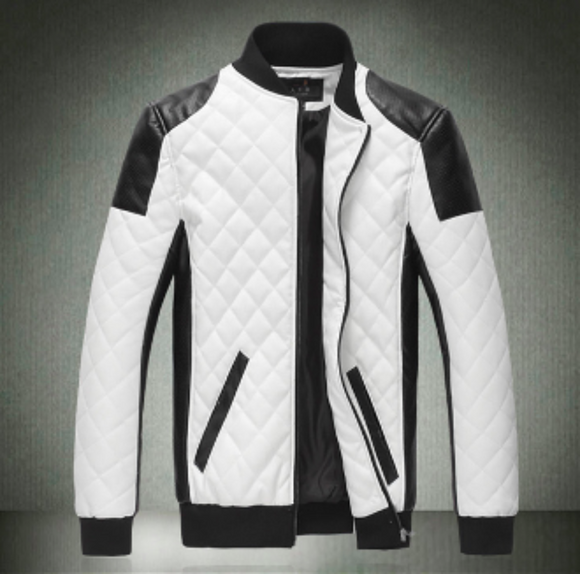 Mens Contrasting Color Biker Faux Leather Jacket - AmtifyDirect