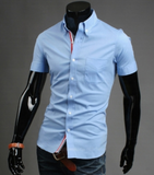 mens light blue cotton short sleeve shirt with ribbon placket - AmtifyDirect