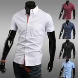 mens white cotton short sleeve shirt with ribbon placket - AmtifyDirect