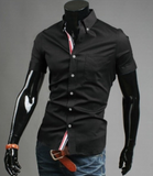 Mens Short Sleeve Shirt with Ribbon Placket