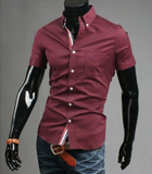 mens red cotton short sleeve shirt with ribbon placket - AmtifyDirect