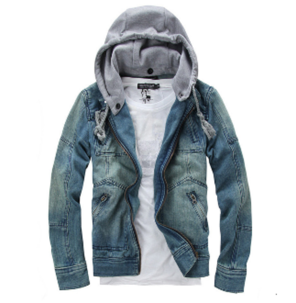 Mens Denim Jacket with Removable Hood