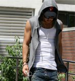 Mens Sporty Sleeveless Zipper Hoodie