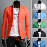 Mens One Button Blazer with Detailed Stand Up Collar - AmtifyDirect