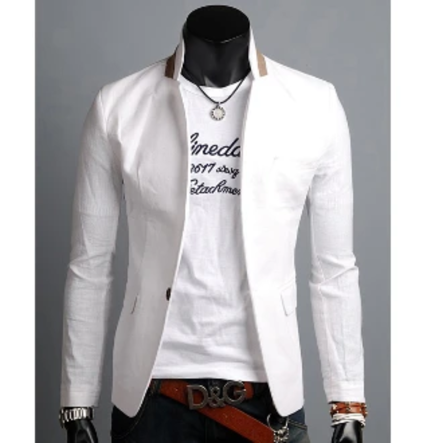 Mens One Button Blazer with Detailed Stand Up Collar