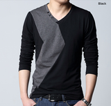 Mens Two Tone V-Neck Shirt with Button Details
