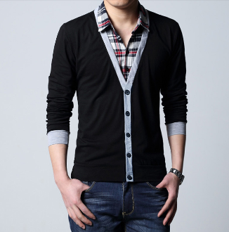 Mens Checkered Layered Cardigan Top
