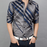Mens Long Sleeve Shirt with Irregular Stripes