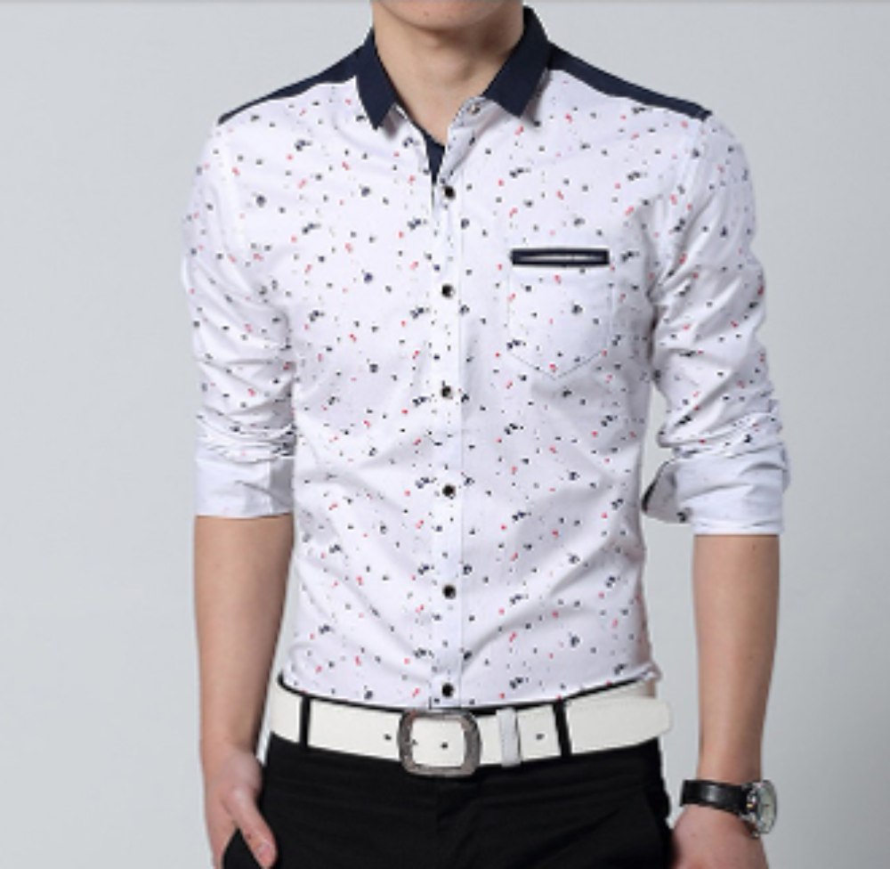 Mens Button Down Shirt with Paint Splash