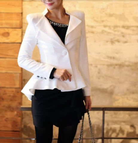 Womens White Blazer with Double Collar