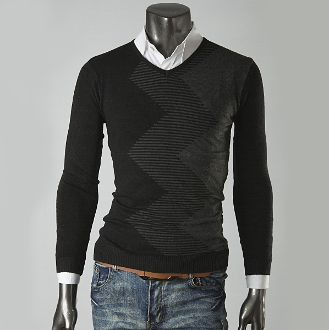 Mens Sweater with Zig Zag Pattern