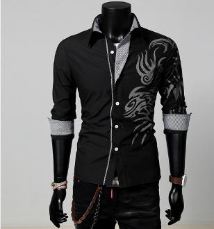 Mens Button Down Shirt with Print