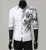 Mens Button Down Shirt with Print - AmtifyDirect