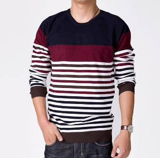 Mens Striped Round Neck Sweater