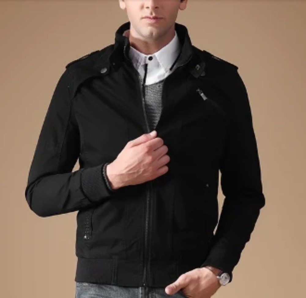 Mens Jacket with Stand Up Collar
