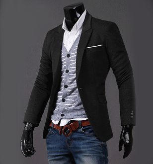 Mens Casual Black Blazer with One Pocket - AmtifyDirect
