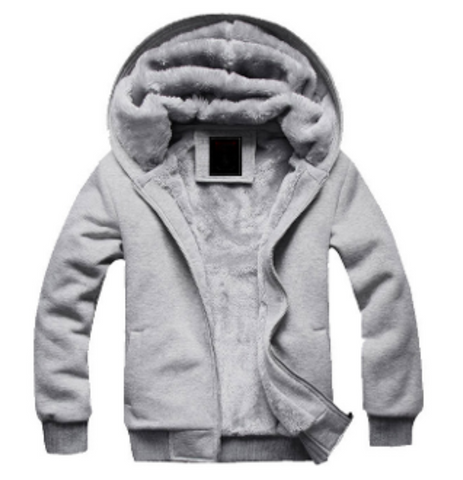 Mens Zipper Hoodie with Gray Fleece Like Lining