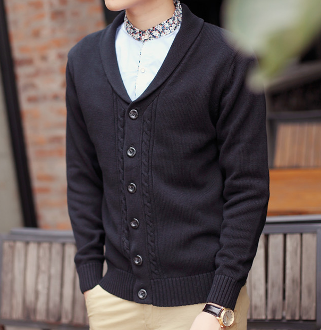 Mens Cable Knit Cardigan with Shawl Collar