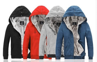 Mens Casual Hooded Jacket with Faux Fur Lining