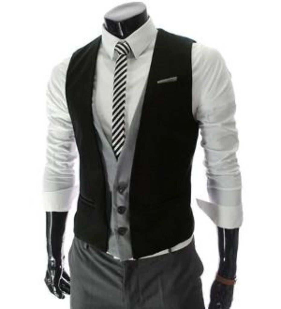 Mens Layered Vest with Shoulder Details - AmtifyDirect