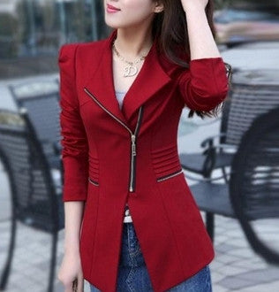 womens red polyester/cotton slim fit blazer - AmtifyDirect