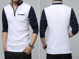 Mens Long Sleeve Two Tone Polo Shirt With Collar Detail - AmtifyDirect