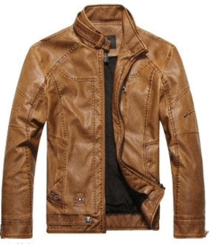 Zip Front Faux Leather Jacket