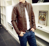 Mens Stand Collar PU Leather Jacket