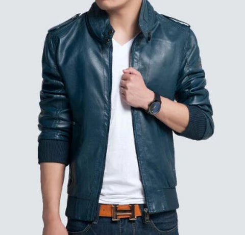 Mens PU Leather Jacket with Button Details - AmtifyDirect