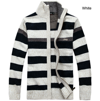 Mens Striped Zipper Cardigan