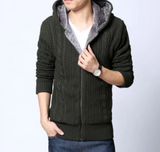 Mens Hooded Cardigan with Inner Fur - AmtifyDirect
