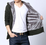 Mens Hooded Cardigan with Inner Fur